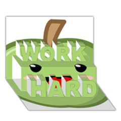 Kawaii Green Apple WORK HARD 3D Greeting Card (7x5)