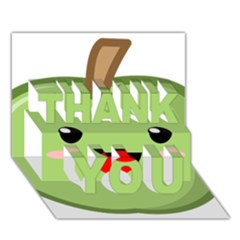 Kawaii Green Apple THANK YOU 3D Greeting Card (7x5)