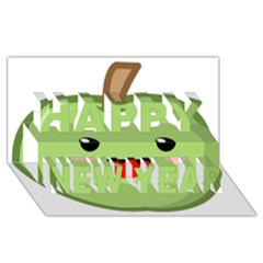 Kawaii Green Apple Happy New Year 3D Greeting Card (8x4)