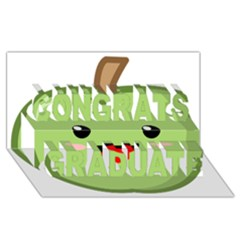 Kawaii Green Apple Congrats Graduate 3d Greeting Card (8x4)