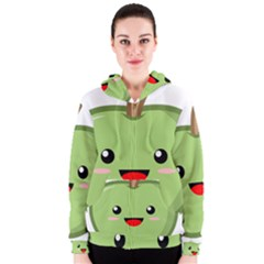 Kawaii Green Apple Women s Zipper Hoodies