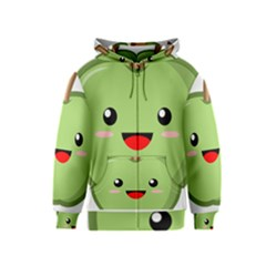 Kawaii Green Apple Kids Zipper Hoodies