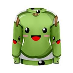 Kawaii Green Apple Women s Sweatshirts