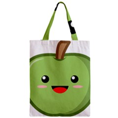 Kawaii Green Apple Zipper Classic Tote Bags