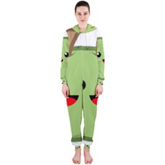 Kawaii Green Apple Hooded Jumpsuit (ladies)