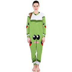 Kawaii Green Apple Onepiece Jumpsuit (ladies)