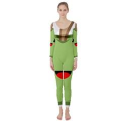 Kawaii Green Apple Long Sleeve Catsuit