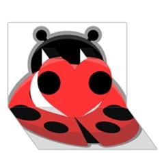 Kawaii Ladybug Heart 3d Greeting Card (7x5)