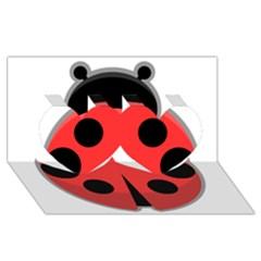 Kawaii Ladybug Twin Hearts 3d Greeting Card (8x4)