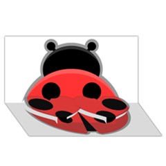 Kawaii Ladybug Twin Heart Bottom 3D Greeting Card (8x4)