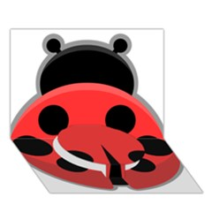 Kawaii Ladybug Circle Bottom 3D Greeting Card (7x5)