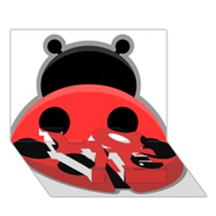 Kawaii Ladybug LOVE Bottom 3D Greeting Card (7x5)