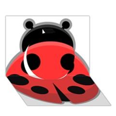 Kawaii Ladybug Circle 3d Greeting Card (7x5)