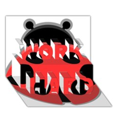 Kawaii Ladybug WORK HARD 3D Greeting Card (7x5)
