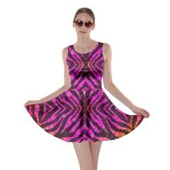 Florescent Pink Zebra Pattern  Skater Dresses