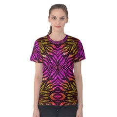 Florescent Pink Zebra Pattern  Women s Cotton Tees