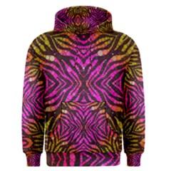 Florescent Pink Zebra Pattern  Men s Pullover Hoodies