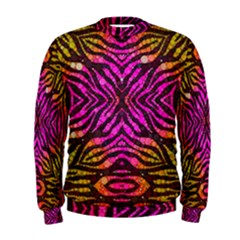 Florescent Pink Zebra Pattern  Men s Sweatshirts