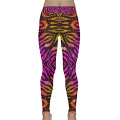 Florescent Pink Zebra Pattern  Yoga Leggings