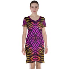 Florescent Pink Zebra Pattern  Short Sleeve Nightdresses