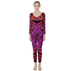 Florescent Pink Zebra Pattern  Long Sleeve Catsuit