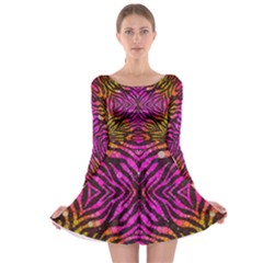 Florescent Pink Zebra Pattern  Long Sleeve Skater Dress