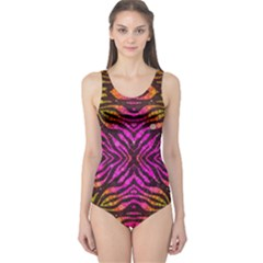Florescent Pink Zebra Pattern  Women s One Piece Swimsuits