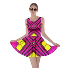 Florescent Pink Yellow Abstract  Skater Dresses