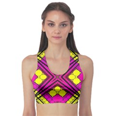 Florescent Pink Yellow Abstract  Sports Bra