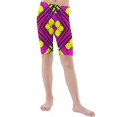 Florescent Pink Yellow Abstract  Kid s swimwear