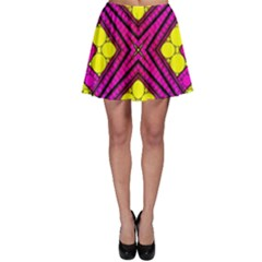 Florescent Pink Yellow Abstract  Skater Skirts
