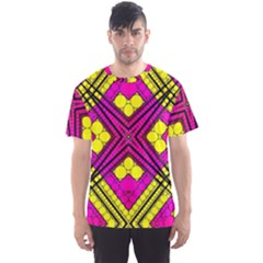Florescent Pink Yellow Abstract  Men s Sport Mesh Tees