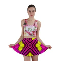 Florescent Pink Yellow Abstract  Mini Skirts