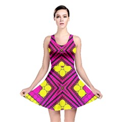 Florescent Pink Yellow Abstract  Reversible Skater Dresses