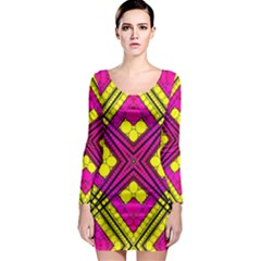 Florescent Pink Yellow Abstract  Long Sleeve Bodycon Dresses