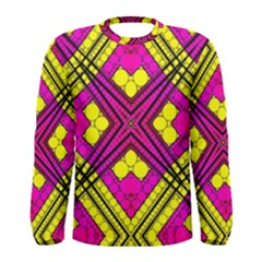 Florescent Pink Yellow Abstract  Men s Long Sleeve T-shirts