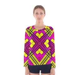 Florescent Pink Yellow Abstract  Women s Long Sleeve T Shirts