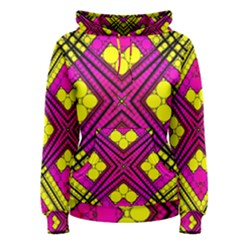 Florescent Pink Yellow Abstract  Women s Pullover Hoodies