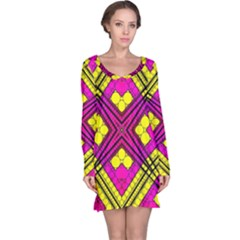 Florescent Pink Yellow Abstract  Long Sleeve Nightdresses