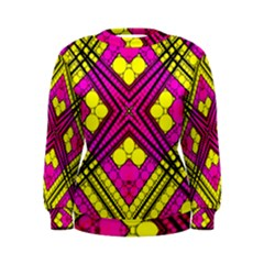 Florescent Pink Yellow Abstract  Women s Sweatshirts