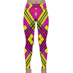 Florescent Pink Yellow Abstract  Yoga Leggings