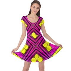 Florescent Pink Yellow Abstract  Cap Sleeve Dresses