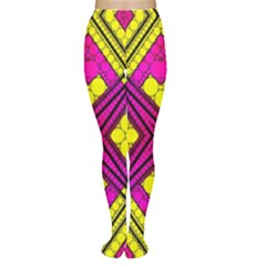 Florescent Pink Yellow Abstract  Women s Tights