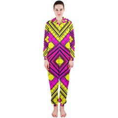 Florescent Pink Yellow Abstract  Hooded Jumpsuit (Ladies)