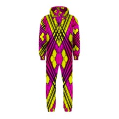 Florescent Pink Yellow Abstract  Hooded Jumpsuit (Kids)