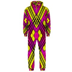 Florescent Pink Yellow Abstract  Hooded Jumpsuit (men)