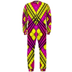 Florescent Pink Yellow Abstract  OnePiece Jumpsuit (Men)