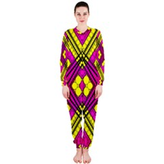 Florescent Pink Yellow Abstract  OnePiece Jumpsuit (Ladies)