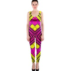 Florescent Pink Yellow Abstract  OnePiece Catsuits