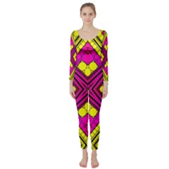 Florescent Pink Yellow Abstract  Long Sleeve Catsuit